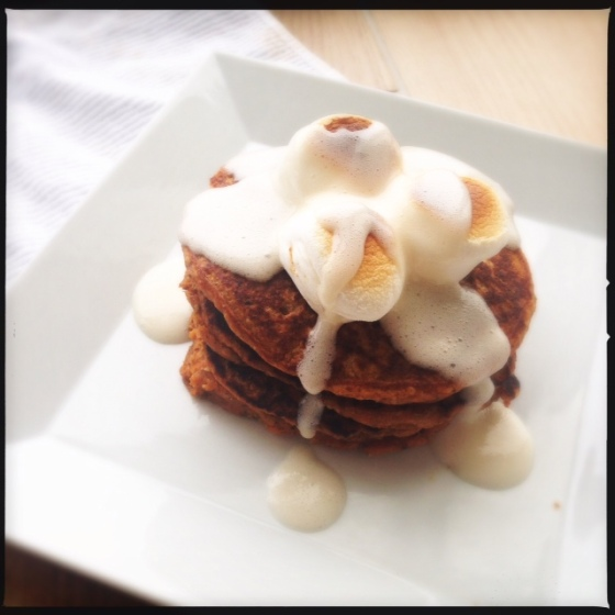 Sweet Potato Pie Pancakes with Marshmallow Sauce